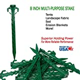 Ecoduty 8 in tent stake, landscape stake, sod staple for camping, straw blanket, weed barrier, landscape fabric (25)