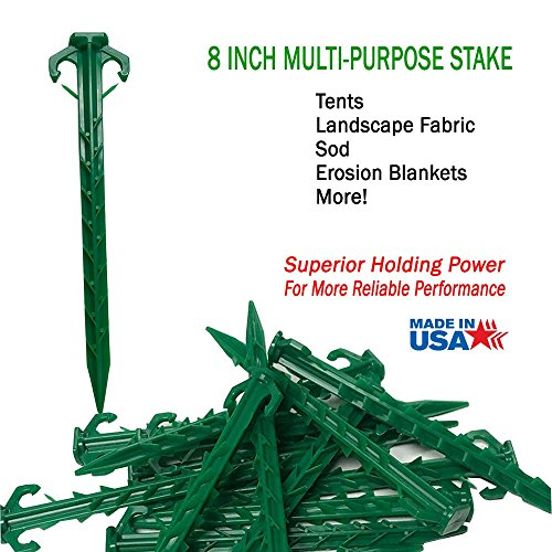 Ecoduty 8 in tent stake, landscape stake, sod staple for camping, straw blanket, weed barrier, landscape fabric (25) by Ecoduty