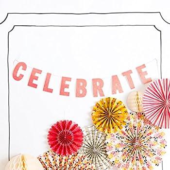 "My Mind's Eye My Story ""Celebrate"" Banner, Pink Glitter, 2.5 Feet Long"