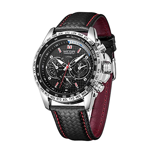 Joberry Watch, Men Watches 43mm, 3ATM Waterproof, Sport Fashion, Leather Strap, Carton Box Packed (Black)