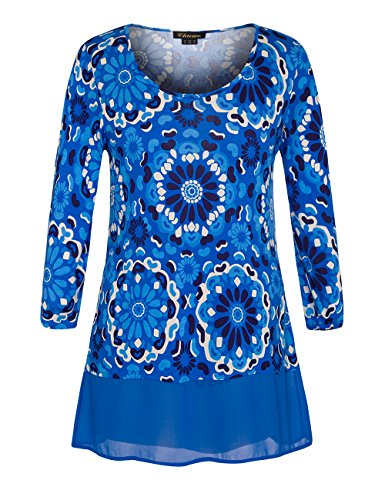 - Chicwe Women's Plus Size Floral Printed Tunic Top with Chiffon Hem - Casual Party and Work Top Sea Blue 22