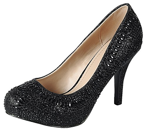 Cambridge Select Women's Closed Almond Toe Glitter Crystal Rhinestone Stiletto High Heel Dress Pump (8.5 B(M) US, Black) Black Rhinestone Heel