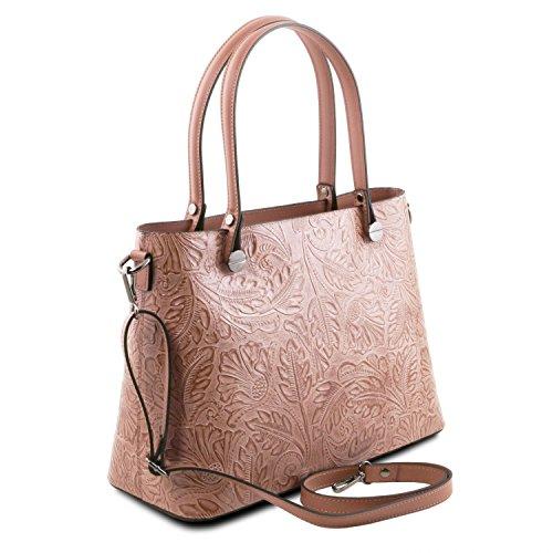 Tuscany Leather Atena Borsa shopping in pelle Ruga stampa floreale - TL141655 (Nude) Nude