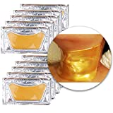 Anti Aging Treatments Set of 10pcs Neck Chest Décolleté 24K Gold Golden Collagen Gel Crystal Masks Patches Sheets for Wrinkles Removal, Skin Toning, Firming, Discolorations and Moisturizing