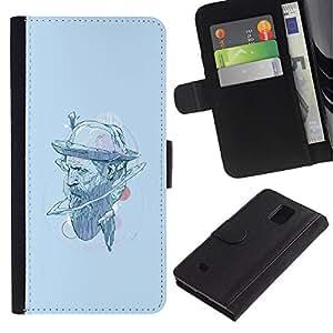 YiPhone /// Tirón de la caja Cartera de cuero con ranuras para tarjetas - Sombrero del inconformista - Samsung Galaxy Note 4 IV