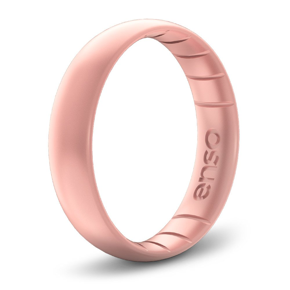 Enso Rings Thin Elements Silicone Ring by Precious Metal Infused Silicone Rings. Rose Gold. Size 5