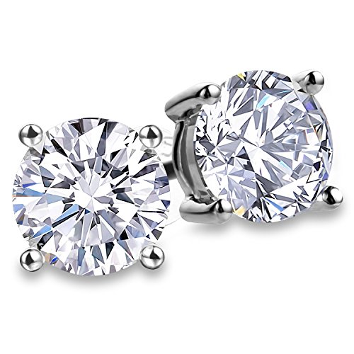 Fashion 925 Sterling Silver Cubic Zirconia Stud Earrings For Women 8mm CZ Men Nickel Free Earrin 4 Prong Sparkling Round Pure Brilliance CZ Stud Earrings with Large(Round Cubic Zirconia 8.0mm)