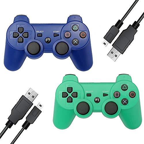 Vinonda PS3 Controller Wireless 2 Pack Double Vibration Remote Gamepad with 2 Charging Cable for Playstation 3 (Blue+Green) (Color: Blue+Green)