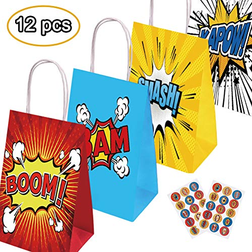 Happy Storm Super Hero Bags Hero Birthday Party Supplies Favor 4 Designs Goodie Bags Including 12 Pcs Bags 30 Pcs Free Stickers Goods Filling with Candies Toys Gifts Baby Shower ()