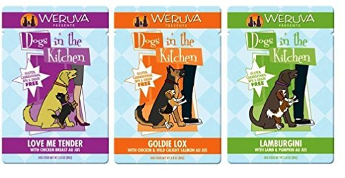 Weruva Dogs In The Kitchen Grain Free Dog Food 3 Flavor Variety 9 Pouch Bundle: (3) Love Me Tender, (3) Goldie Lox, and (3) Lamburgini, 2.8 Oz. Ea. (9 Pouches Total)
