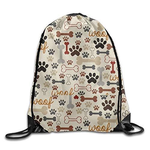 Cellcardphone Training Dog Bones & Paw Prints Cream Drawstring Sack Bag -