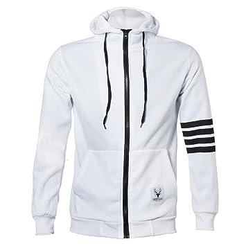 Malloom Moda Hombre sudaderas con capucha de marca de deportes cremallera Chaqueta Abrigos Outwear (blanco, M(EU36)): Amazon.es: Deportes y aire libre