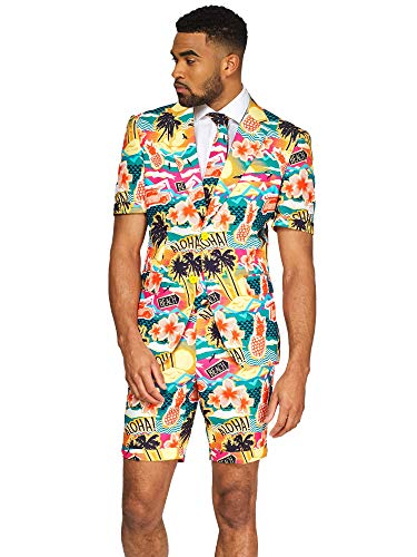 OppoSuits Men's Summer Suit - Aloha Hero - Includes Shorts, Short-Sleeved Jacket & Tie