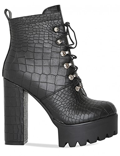 LAMODA Womens Lace up Platform Heeled Ankle Boot in PU Black Croc
