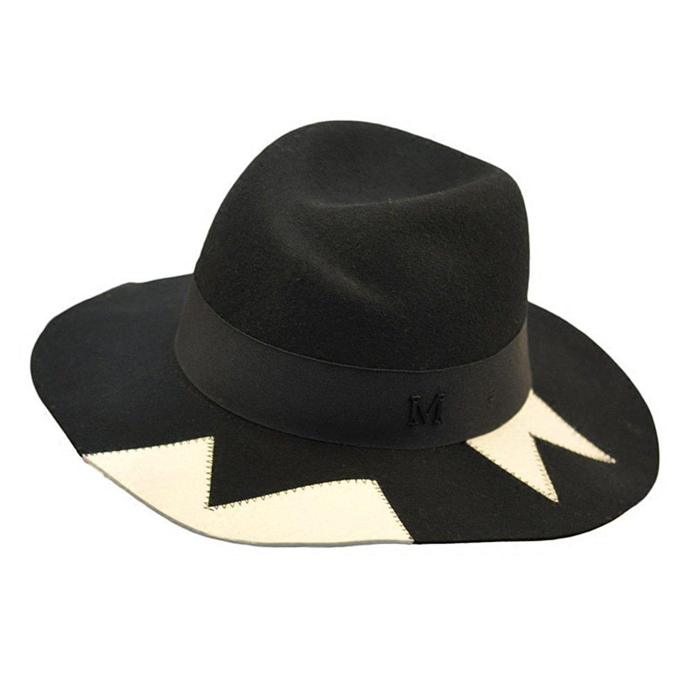 Shuo lan hu wai Schwarze und weiße Farbe Herbst und Winter Wolle Zylinder mit Hut Panama Hut
