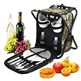 ROMANTICIST Heavy Duty Picnic Backpack Stool with Cooler & Tableware - All-in-1 Folding Backpack Chair with Insulated Bag for 2 Person - Ideal Camping Gift for Beach Fishing Sporting Hiking Outdoor