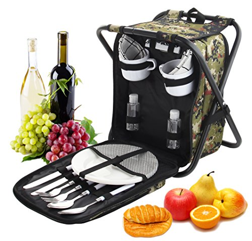 Coffee Picnic Backpack - ROMANTICIST Heavy Duty Picnic Backpack Stool with Cooler & Tableware - All-in-1 Folding Backpack Chair with Insulated Bag for 2 Person - Ideal Camping Gift for Beach Fishing Sporting Hiking Outdoor