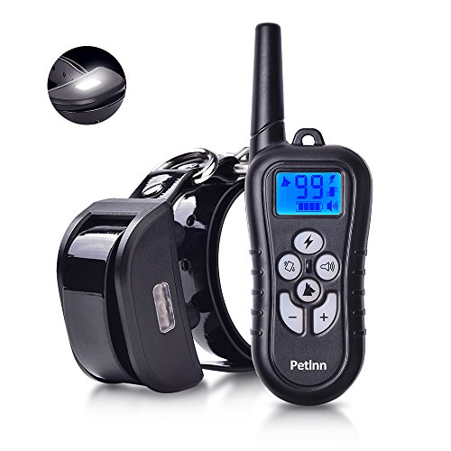 Pet Inn Dog Training Collar with Night Tracking Light, Rechargeable and Waterproof Beep, Vibration and Electric Shocking Collar with Remote 1500ft Range for Small Medium & Large ()