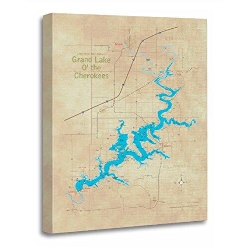 TORASS Canvas Wall Art Print Oklahoma Grand Lake Ok Map Roads Artwork for Home Decor 24