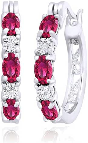 October Pink 3.35 ct Hoop Earrings with Diamonds .925 Solid Sterling Silver