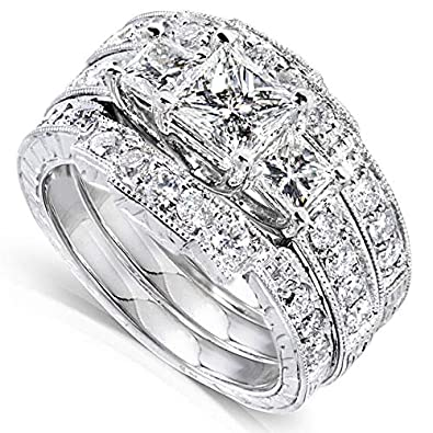 Amazon Com Kobelli Princess Diamond Wedding Ring Set 1 7 8
