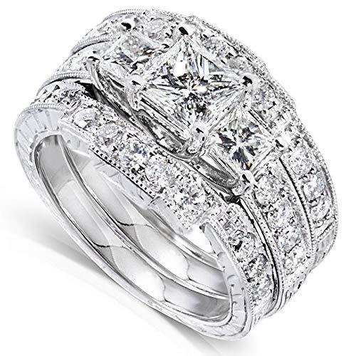 Kobelli Princess Diamond Wedding Ring Set 1 7/8 carats (ctw) in 14K White Gold (3 Piece Set), Size 9.5, White Gold