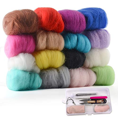 (Zealor 16 Colors Needle Felting Wool Set 5g Each Color with Needle Felting Starter Kit Wool Felt Tools)