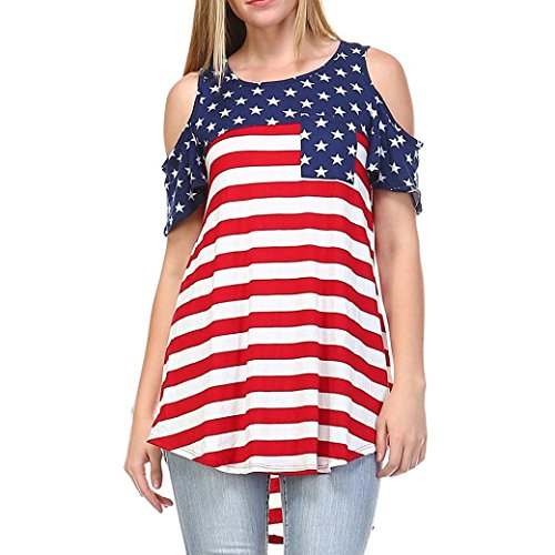 American Flag Tops Women Striped Short Sleeve Shirt Star Open Shoulder Blouse