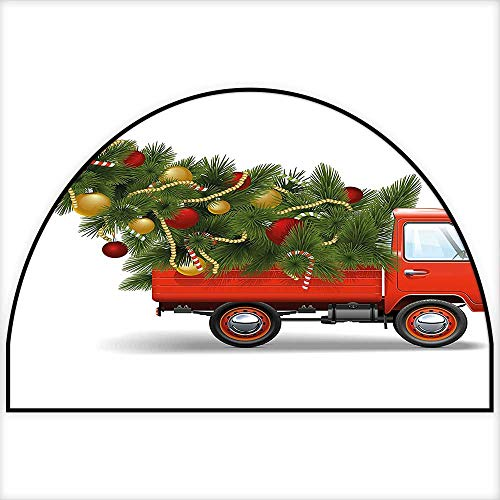 Trucks Fun Rug - Non Slip Semicircle Rugs Santa in Red Vintage Truck with Fun Cartoon Xmas Tree and Colorful Fairy Lights Living Dinning Room and Bedroom Rugs W30 x H18 INCH