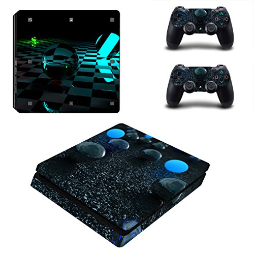 Chickwin PS4 Slim Vinyl Skin Full Body Cover Sticker Decal For Sony Playstation 4 Slim Console & 2 Dualshock Controller Skins (Clear Ball)