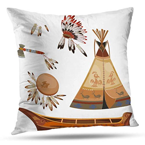 - HAPPYOME Decorative Throw Pillow Covers Indian American Cone Culture Drum Ethnic Feather Frame Historic HistoryPillow Case Cushion Cover for Bedroom Livingroom Sofa 20X20 Inches