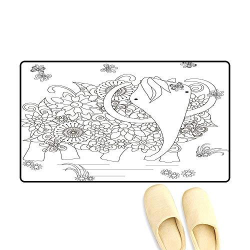 (doormatFlowers Mammoth Coloring Page Anti Stress Outdoor Doormat)