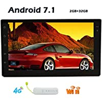 With Free 4G Dongle and GPS Antenna! Android 7.1 Double 2 din Octa Core Wifi Model NO DVD player IN dash car GPS Navigation Stereo System for Universal Vehicles Mirrorlink/USB/SD/Wifi