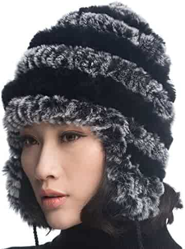 3305a645c0e URSFUR Women Rex Rabbit Fur Knit Peruvian Beanie Hat Unisex Warm Earfalp  Ski Cap