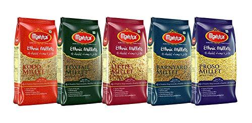 Millets Combo Pack of 5 Kodo Millet 500g Proso Millet 500g Little Millet 500g Foxtail Millet 500g & Barnyard Millet 500g breakfast meal instant cook healthy diet pure