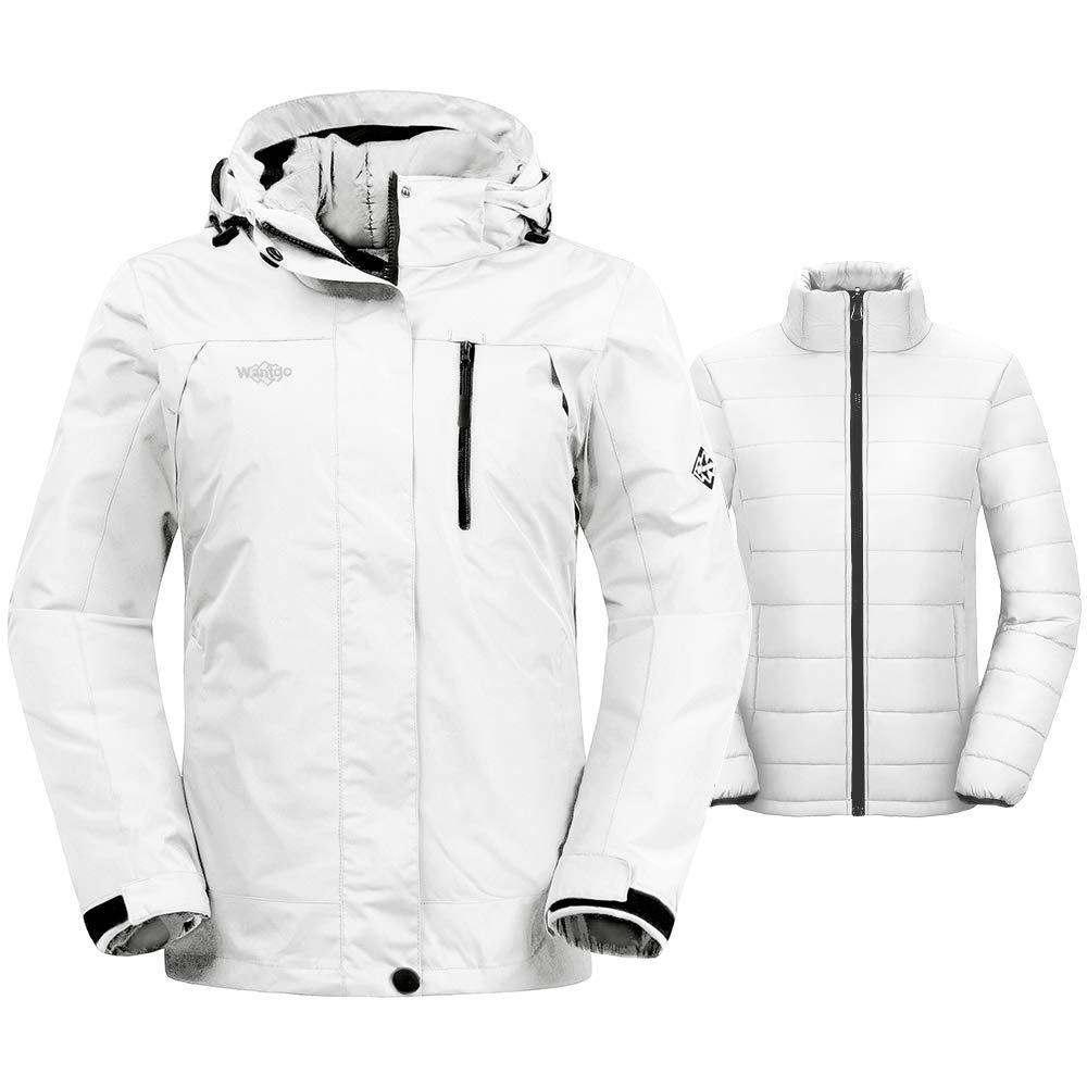 Wantdo Damen Wasserdichte Skijacke Austausch windundurchlässiges Puffer Liner warmen Wintermantel Insulated Kurz Parka