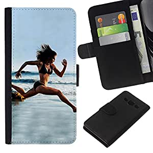 All Phone Most Case / Oferta Especial Cáscara Funda de cuero Monedero Cubierta de proteccion Caso / Wallet Case for Samsung Galaxy A3 // Woman Running Beach Biking Trim Body