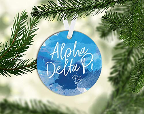 Susie85Electra Adpi Alpha Delta Pi Watercolor 3 Inch Porcelain Novelty Christmas Ornament