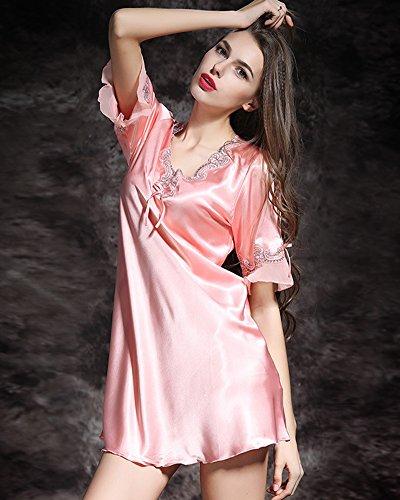 Vestido Ropa de Dormir para Mujer, Satén Camisón Pijama Ropa Interior Pink
