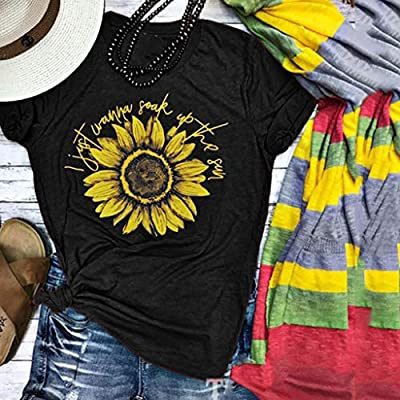 EDC Graphic Tees for Women Sunflower I Just Letter Print Short Sleeve Pullover Crewneck T Shirt Shirts Tops Blouse at Women's Clothing store
