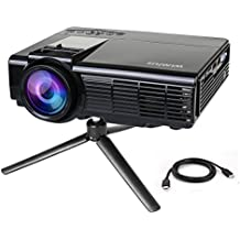 Projector by WiMiUS +20% Lumens Portable LCD Video Projector Support 1080P with Free HDMI Cable and Tripod Compatible with TV Stick Xbox Laptop iPhone Smartphones for Home Cinema-Black