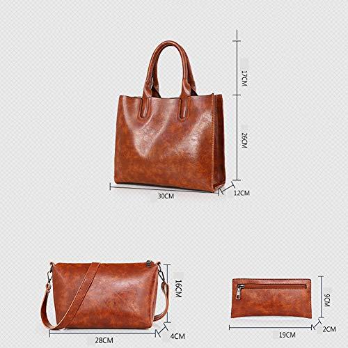 Mano Pezzi A A Borsa LUCKYCCDD Portafoglio Femminile Borse Grande Puro Borsa Brown Red Tracolla Colore Di 3 Capacità Set Moda qwPSXIP6O
