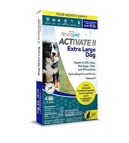 TevraPet Activate II Flea and Tick Topical, Extra Large Dogs 55 Plus Pounds, 4 Count