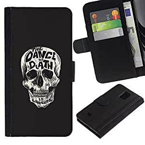 LECELL--Cuero de la tarjeta la carpeta del tirón Smartphone Slots Protección Holder For Samsung Galaxy S5 Mini, SM-G800 -- Baila al cráneo ¡Muerte --