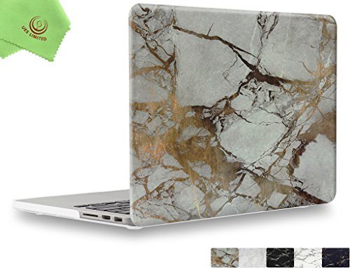 UESWILL Marble Pattern Smooth Soft-Touch Hard Case Cover for MacBook Pro 15 with Retina Display (NO Touch Bar,NO CD-ROM) (A1398) + Microfibre Cleaning Cloth, (White/Gold)