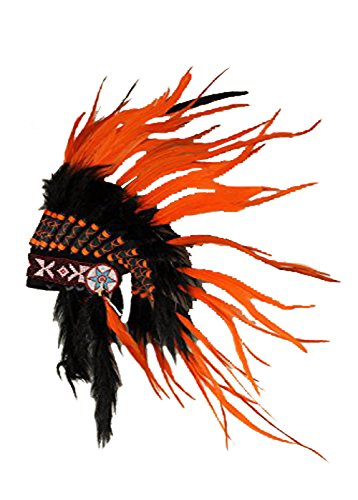 X31 Orange Sunset Feather Headdress, Perfect for halloween!!
