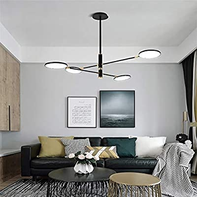ZLHLL Sputnik Chandelier Retro Dimable Adjustable Ceiling Light Rotary Pendant Light for Dining Room Kitchen Bedroom E27 Living Room Chandelier Black 48W 105x83cm 4 Head