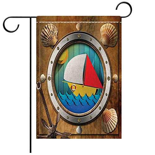 (BEICICI Double Sided Premium Garden Flag Anchor Metallic Porthole with Bolts Seashells Rusty Anchor and Boat Journey Voyage Activity Multicolor Best for Party Yard and Home Outdoor Decor)