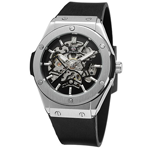 Forsining Men's Automatic Self-wind Day Analugue Rubber Band Collection Steampunk Wrist Watch FSG8107M3S1