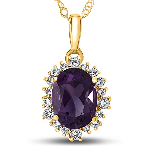 Finejewelers Solid 10k Gold 8x6mm Oval Center Stone with White Topaz accent stones Halo Pendant Necklace